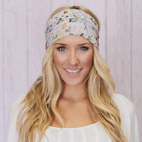 Lavender Floral Chiffon Stretchy Wide Flower Headbands Hair Wrap