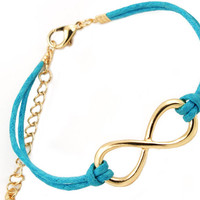 Hot Blue Leather Simple Infinity Bracelet wholesale