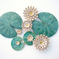 Lily pad coaster ceramic green leaf summer time Waterlily Ultramarine