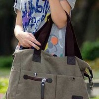 Wholesale Korean Retro High Capacity Canvas Handbag Light Coffee