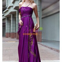 Graceful Off The Shoulder Floor Length Beaded Purple Prom Dress