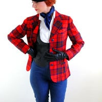 Holiday Sale - Red blue Plaid Wool Blazer Jacket. Pendleton. Office Fashion. Mad Men Fashion. Outerwear. Holiday. Woodland. Size Large