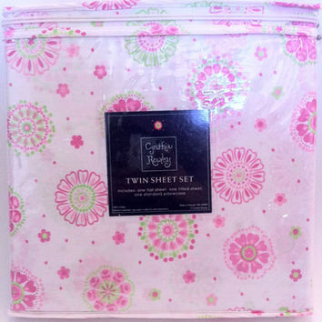 NEW Cynthia Rowley Girl's Pink & Green Floral Twin Sheet Set