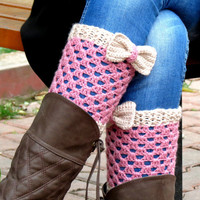 Vanilla Pinkk Short Knit Boot Cuffs with bow. Short Leg Warmers. Crochet Boot Cuffs. Bow boot cuffs. Bow Accessory