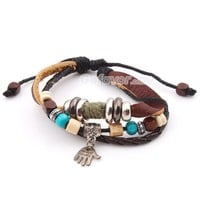 Fashion Adjustable Ethnic Palm Leather String Bracelet at online cheap fashion jewelry store Gofavor