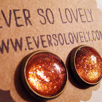 gold dust woman - handmade rusty red copper brown sparkly metallic nickel free post earrings