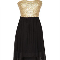 Gold Sequin High Low Dress