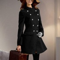 Wholesale Double Breasted Design Fashion Warm Coat Black