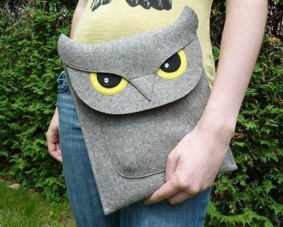 Natural Gray Felt Owl Sleeve for iPad2, 3