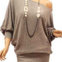 My Associates Store - Patty Women On / One Shoulder Wool Blend Batwing Sleeve Jumper Top