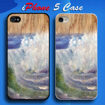 Unique Wood Blue Ocean Custom iPhone 5 Case Cover from namina
