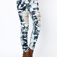 bleached-destroyed-skinny-jeans NAVYIVORY - GoJane.com