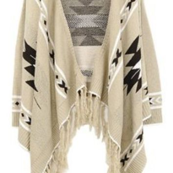 Amazon.com: SZ Aztec Oversized Lapel Cape Long Sleeved Asymmetric Loose Fringe Tassels Sweater Beige: Clothing