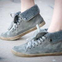 Blossom Cassey-1 Shearling Cuff Sneaker (Grey) - Shoes 4 U Las Vegas