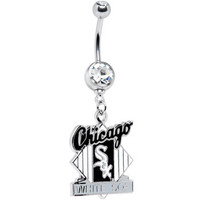 Major League Baseball Double Gem Belly Ring - Chicago White Sox | Body Candy Body Jewelry
