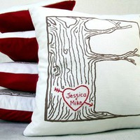 custom heart  tree print pillow cover  personalized by cozyblue
