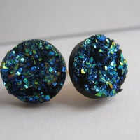 Blue Gold Purple Druzy Earrings Drusy Gemstone Earrings Galaxy Earrings Gold Plated Posts Gifts for Her