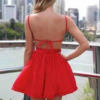 Red Mini Dress with Tie Back and Frill Hem
