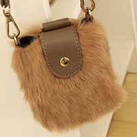 Khaki Fuzzy Ladies Durable Small Messenger Bags : Wholesaleclothing4u.com