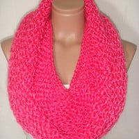 NEW - Knitted Hooded Cowl/Scarf/Neck warmer (Fuchsia) by Arzu's Style