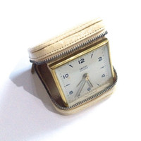 Vintage Cream Leather Travel Clock