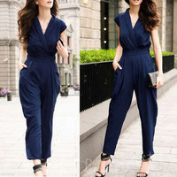 Summer Women Cap Sleeve Jumpsuit Rompers Long Pants Trousers Blue LkBM