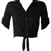 Stud Tie Front Long Sleeve