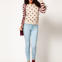 River Island Chelsea Girl Heart Print Jumper
