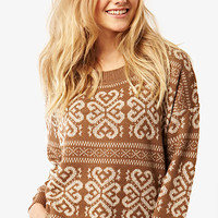 Beige Snowflake Jumper at Fashion Union