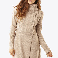 Beige High Neck Button Cardigan Coat at Fashion Union