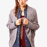 Grey Batwing Cable Cardigan at Fashion Union