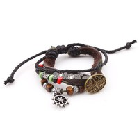Fashion Adjustable Ethnic Shield Leather String Bracelet at online fashion jewelry store Gofavor