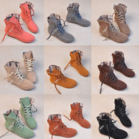 New Fashion style Girls Lace Up Winter Boots Flat Ankle shoes