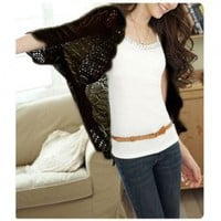 New Arrival Hollow Bat-Wing Sleeve Thin Design Cardigan For Female China Wholesale - Sammydress.com