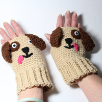 Puppy fingerless mitts, animal fingerless mittens, crochet fingerless gloves.