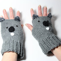 Koala fingerless mitts, animal fingerless gloves, crochet fingerless mittens.
