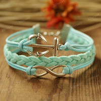 Infinity Bracelet - anchor bracelet  with infinity charm, unique Christmas gift, mint bracelet for girlfriend and BFF