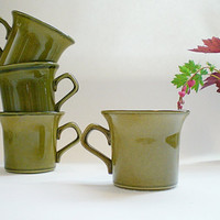 Vintage Ceramic Mugs, Pine Green Coffee Mug Set, Teachers Gift Packaging, Avocado Green Pottery Cups