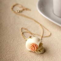 Vintage Rose White Skull Pendant Necklace from http://www.looback.com/
