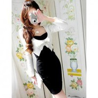 Slim and Graceful Bow-Tie Embellished Colormatching Dress China Wholesale - Sammydress.com