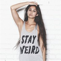 STAY WEIRD Grey High-end Tank Top