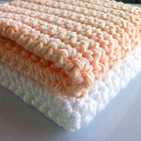 Washcloths/Dishcloth 100% Organic Cotton Complexion Exfolliating Large (Peach/White)