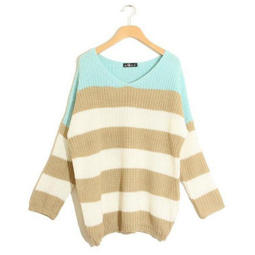 Stylish Long sleeve V neck Stripe loose sweater
