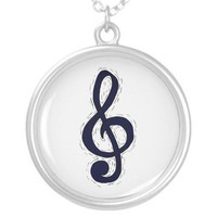 Treble Clef Graphic Design Dark Blue Pendant from Zazzle.com
