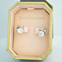 Juicy Couture Sparkle Bow Cut Crown Stud Earrings CRYSTAL SILVER