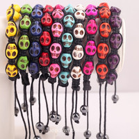 Free Shipping 1pc Man-made Turquoise Charm Skull Style Macrame Adjustable Bracelet 10 Colors