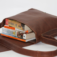 Leather Messenger Bag Briefcase Brown by WyntopiaLeather on Etsy