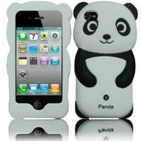Black Panda Silicone Jelly Skin Case Cover for Apple Iphone 4G, 4, 4S and 4GS