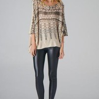 Beige Tribal Print Sweater with Jewel Embellishment