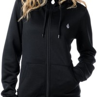 Volcom Girls Garden Basic Black 2012 Tech Fleece Zip Hoodie at Zumiez : PDP